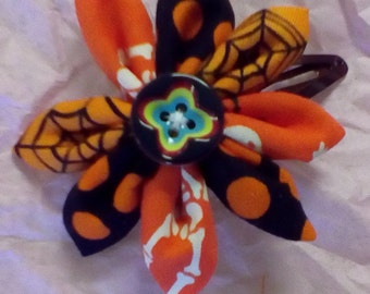 Halloween flower fabric hair clip