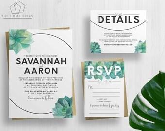 Wedding Invitation Suite Succulent Watercolors / Garden / Cactus / Printable / Save the Date / Custom / Digital Download / Invite / Savannah