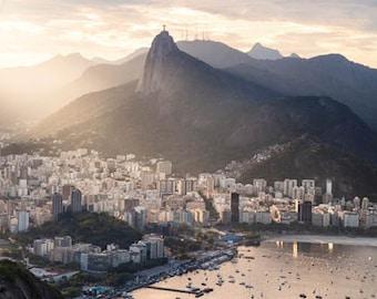 Brazil, Rio de Janeiro, Corcovado, Christ the Redeemer, sunset, Brazil photography, large wall art print, professional photo #013