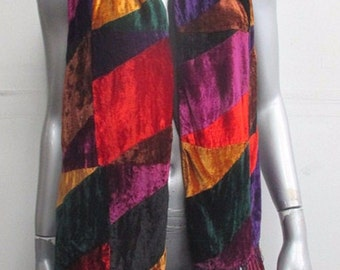 Vintage 90s Crushed Velvet Multi-Colorblock Fringed Scarf