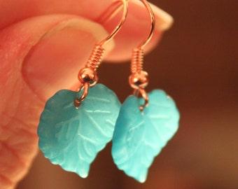 Green leaf earrings.  Green dangly earrings. Green earrings. Leaf earrings. Gardener's earrings. Jewellery for a gardner. Emerald green. Fun