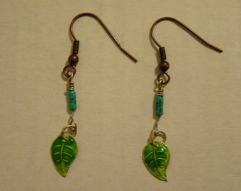 Small Recycled Resistors Earrings Turquoise Colored Leaf Eco Electronics Jewelry