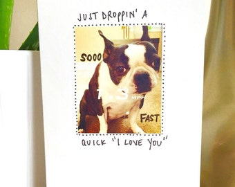 I Love You card funny, I love you unique, Handmade Greeting Cards, Funny Love Card, Dog Card, Funny Dog Card, Boston Terrier, love note