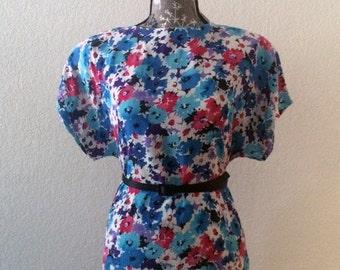 SALE 1980s Floral Top/Vintage Floral Blouse/Floral Top