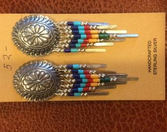 Large Vintage Hand Seed Beaded Navajo Earrings Marked Sterling