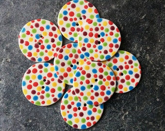 8 Ceramic Dotty Buttons, Handmade Buttons, Dotty Buttons, Clown, polka dots, Bright Buttons, Fun Buttons, Sewing Project.