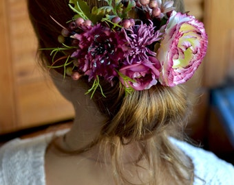 Bridal comb Fall floral comb Bridal woodland head piece Forest wedding comb Floral back hair accessory Burgundy hair dress