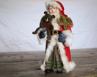 Old World Santa, Polymer Clay, Felted Wool, and Fur