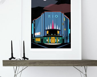 The Rio Cinema Poster - Art Deco London Illustrated Art print - Giclee Art Prints - Hackney Dalston Art Prints - London Art Prints