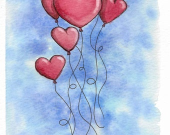 Set of 4 - Blank Heart Shaped Balloon Print Watercolor Cards