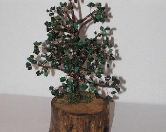Tree in gem stone - chips of malachite