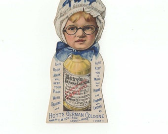 Hoyt's German Cologne Bookmark-Little Girl, Hoyts German Cologne Bottle-Early 1900s