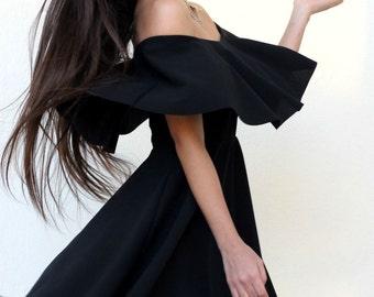 Strapless Flounce Mini Dress Black