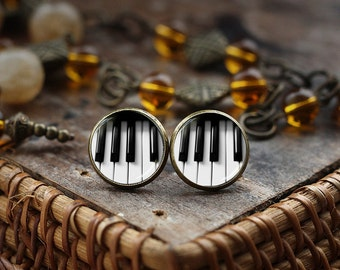 Piano stud earrings, Piano earrings, music earrings, music gift, Piano Keyboard earrings, Black and White earrings, Piano post earrings