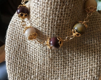 14kt Gold Bracelet with Moukaite Beads, Healing Stone, Earth Neutral Colors, Earthy Colors (Also called Mookaite, and Mookite Jasper)