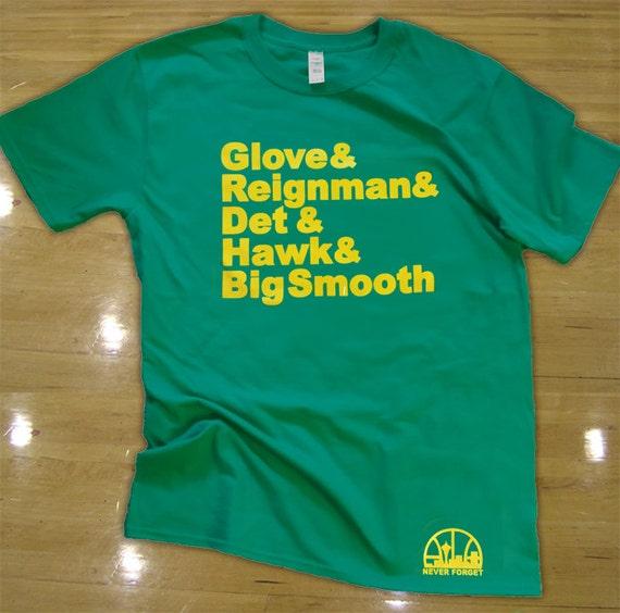 Seattle supersonics t shirt gary payton shawn kemp 1996 team for Seattle t shirt printing