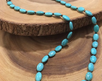 Turquoise Bead Necklace w/ Wood Seed Beads and Bronze Clasp