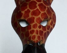 African Giraffe Carved Wood Mask