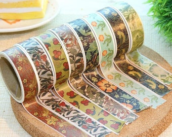 Retro flower washi masking tape 5M vintage plant pattern floral vintage pattern flower pattern washi tape country flower classic flower tape
