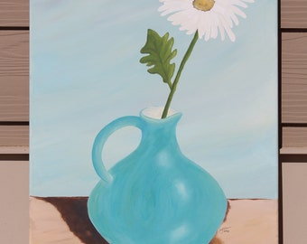 White Daisy in Teal Pitcher : Original Acrylic Painting on Stretched Canvas, 18x24 inches
