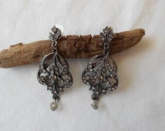 Vintage Joan Rivers Gunmetal Crystal Dangle Earrings