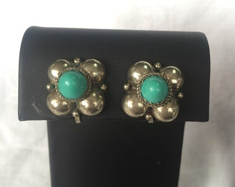 Alpaca Clip On Earrings, Alpaca Guad Turquoise Earrings, Vintage Clip On Earrings, Alpaca Earrings, Southwestern Earrings, Free Shipping