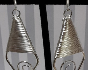 Diamond Shaped Silver Wire Wrapped Earrings