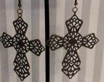 Gold Antique Style Cross Earrings