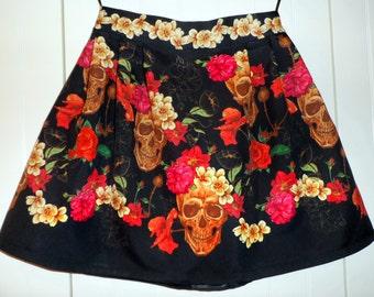 Skulls and Roses Frida's Style Skirt/Halloween
