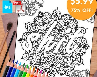 Adult Coloring Book Printable COMBO 20 Pages Swear Word Print At Home Digital Download