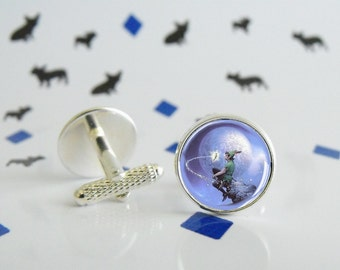Peter Pan - Cufflinks in silver metal with glass cabochon - Special wedding gift
