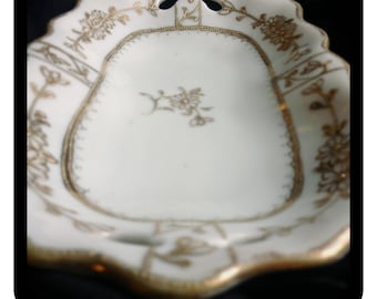 Nippon Hand Painted Ivory White and Gold Porcelain Dish