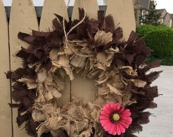 Handmade Two Toned Burlap Wreath - Chocolate, Vanilla and Strawberry