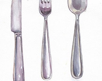 Fork, spoon and knife in watercolor