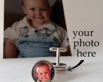 Custom Photo Cuff Links - Personalized Photo Cuff Links, Christmas Gift For Dad, Your Own Photo, Father's Day Gift, Personalised Cuff Links