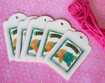 12 Zinnias Flower gift tag, birthday, wedding, hostess gift...