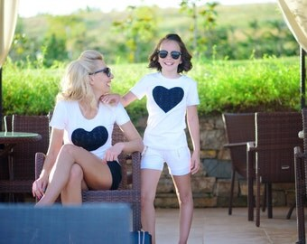 Girls Tshirt, Girls White Shirt, Toddler Tshirt, Short Sleeve Top, Heart Shirt, Birthday Shirt, School Shirt, Kids Outfit, Girls Summer Top