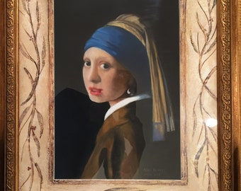 """Pastel Painting """"Girl with A Pearl Earring"""""""