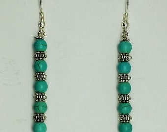 Turquoise Style Bead Dangle Earrings with Tibetan Silver Accents