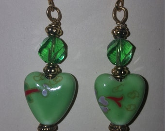 Porcelain and Swarovski Crystals Earrings