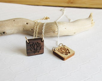 Lotus Flower Necklace, Wooden Lotus Pendant, Bridesmaids Gifts, Yoga Necklace, Wedding Jewelry, Tiny Lotus Pendant, Lotus Flower Jewelry