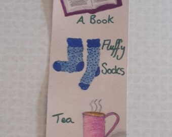 Hand Drawn Bookworm Bookmark