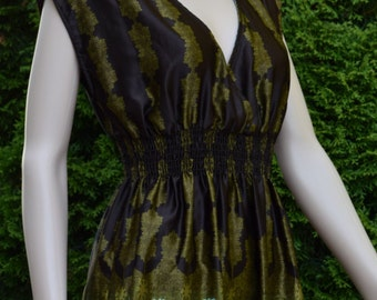 Womens Dress Silky Paisley print dress by Lily White / Made in USA