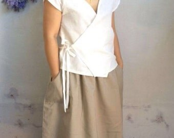 Linen Wrap Top / Minimalist Wrap Linen Blouse