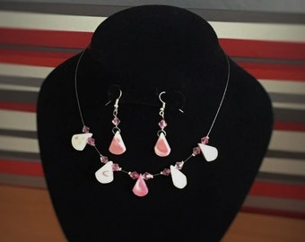 Pink and white marble effect delicate beaded necklace and dangle earring, matched jewelry pair, handcrafted wire work jewellery gift set
