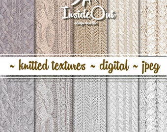 Beige Knitted Texture Scrapbooking Digital Paper White Cream Knit papers Ivory Scrapbook Sweater Grey Fabric Knitting Wool Gray background