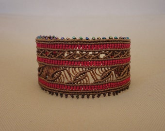 Gypsy Soul - macrame cuff bracelet with seed beads