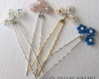 Swarovski hair pins, bridesmaid hair pins, bridal hair pins, hair pins, flower hair pins, wedding hair accessories, hair accessories