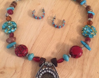 """Red and Turquoise Necklace with Pendant """"No Cash Value"""" and Hoop Earrings"""