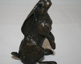 Solid Bronze Moongazer Hare Sculpture by Paul Jenkins